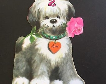 VTG Birthday Greeting Card, for 2 yr old, shaggy dog & Rose, pleasant thoughts