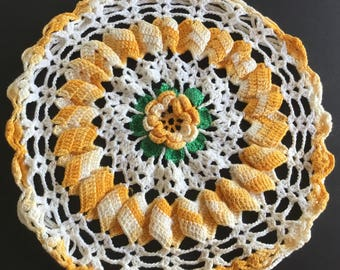 """Vintage hand crocheted Doily, yellow, white , and green , size 8 1/2"""""""