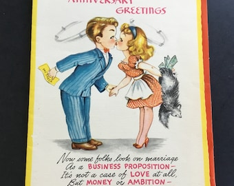 Vintage Anniversary Greeting Card, Couple kissing, by Sapphire cards