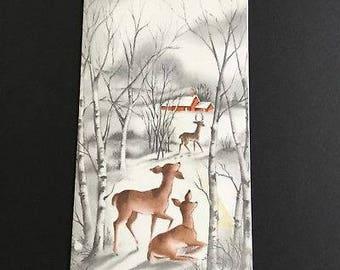 Vintage Deer in forest Christmas greeting card, Season's Greetings