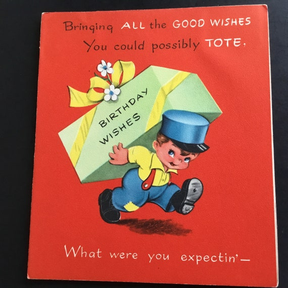 Vintage Unused Birthday Greeting Card Delivery Boy Pop Up
