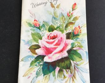 Vintage wedding congratulations greeting card, Pink Rose Bouquet, Unused