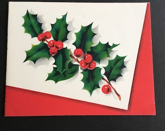 Vintage Christmas greeting card, Holly & Berries, Norcross