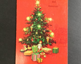 Vintage (Unused) Christmas Postcard, lighted tree & presents, Norcross