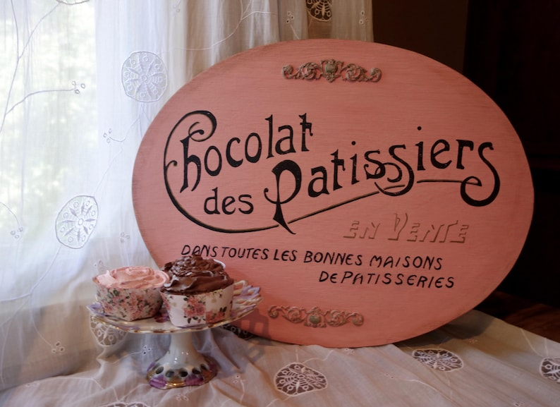 Chocolat Des Patissiers Pink French Sign Provence Decor Oval Etsy
