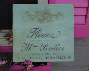 Fleura, Country French Flower Shop Sign on Salvaged Pine Wood, Hand Painted, Distressed Gilt French Country Sign