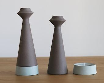 shabbat candlestick, ceramic candlestick, candle holder, teal decor, ceramics and pottery, ceramic candle holders, shabbat candles