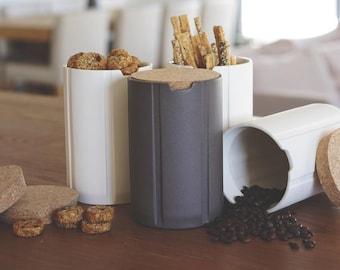 kitchen canisters, modern cork, ceramic, kitchen storage, scandinavian modern, coffee canister, coffee jar, kitchen jars, minimalist storage