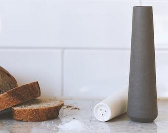 Salt and Pepper Shakers, modern minimalist, Basalt rocks, White ceramics, Kitchen decor, Ceramic Ware, Homeware, stoneware, modern ceramics