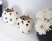 ceramic vase, single flower vase, minimalist Flower Vase, Modern Home Decor, contemporary ceramic, modern home, Dalmatian, small flower vase