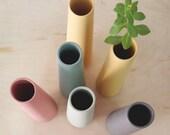 5x ceramic flower vases, bud vase, minimalist pastel vase, single flower vase, table centerpiece, decorative vase, scandinavian modern decor