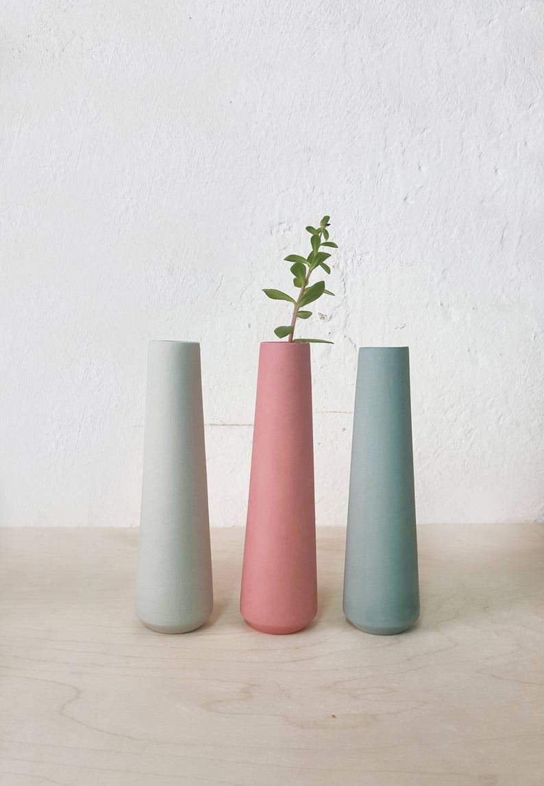 3x Ceramic Flower Vases, Bud Vase, Minimalist Pastel Vase, Single Flower  Vase, Table Centerpiece, Decorative Vase, Scandinavian Modern Decor