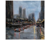 Original Painting, quot Another rainy day, Michigan Ave quot , Chicago, 10x10, Chicago Oil Painting, Original Chicago art