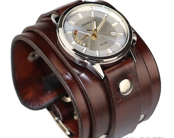 Genuine leather watchband mens watch band first class leather cuff watch band strap brown