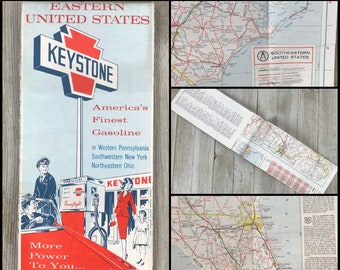 1960's Keystone Gasoline Road Map of Eastern United States - Vintage New / Factory Folded East Coast Driving Maps - Retro Road Trip Planning