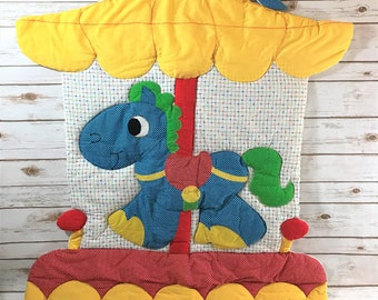 Carousel Horse Quilt - Vintage Quilted Circus Pony - Handmade Quilt - Nursery Wall Hanging - Preschool Room Decor - Gender Neutral Baby