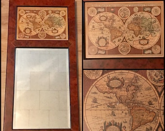 "Old World Map & Mirror Wall Hanging - 35"" Wood Frames Sylvestri Globe Decor - Nova Totius Terrarum Geographica - Vintage - Ancient World Map"