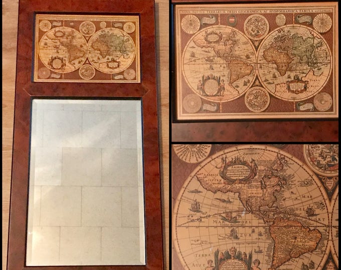 "Old World Map & Mirror Wall Hanging - 35"" Wood Frames Sylvestri Globe Decor - Nova Totius Terrarum Geographica - Vintage - Ancient World Map"