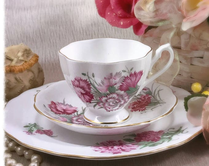 Queen Anne Pink Floral Tea Set Trio - Bone China England - Vintage Tea Cup, Saucer & Plate - Carnation Flowers, Green Leaves - Tea Party