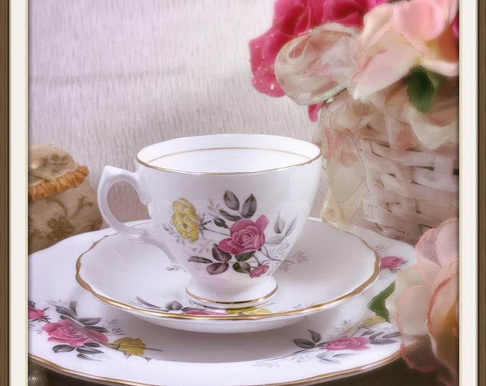 Royal Vale English Tea Set Trio - Bone China England - Vintage Tea Cup, Saucer & Plate - Pink and Yellow Roses with Green Leaves - Tea Party