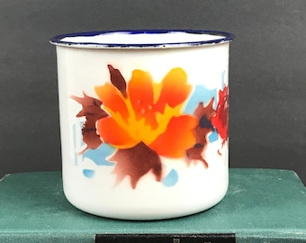 Vintage Bumper Harvest Enamelware Mug Autumn Flowers Watercolor Design -  Large White Blue Rim Enamel Metal Camping Coffee Cup - Soup Mugs