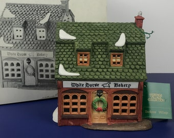 White Horse Bakery Shop Christmas Village Building from Department 56 Dickens Village Series - Light Up Holiday Display House Decoration