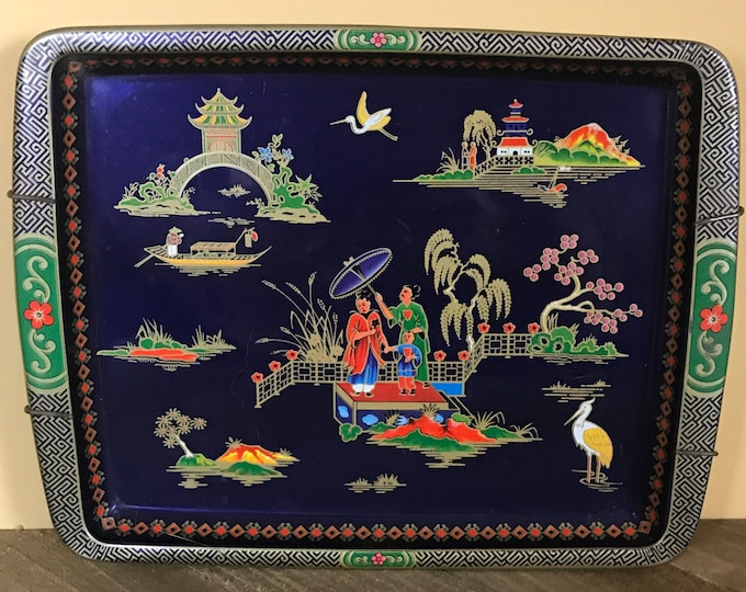 Vintage Cobalt Blue Asian Inspired Small Tin Wall Tray by Daher Decorated Ware & Metal Hanger- Retro Oriental Teacup Trays or Trinket Dish