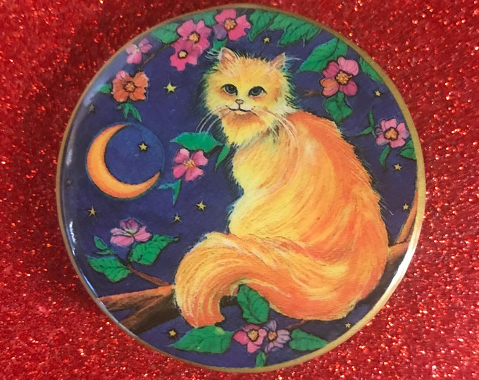 Vintage Illuminations Long Haired Orange Cat by the Moon Pinback Button - Retro 1980's Collectible Gifts / Stocking Stuffer - Pins & Buttons