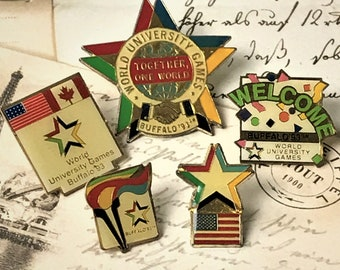5 1993 World University Games in Buffalo Souvenir Enamel Lapel Pin Set - Vintage College Games Tie Pins - Hat Pins - On Sale Free Shipping