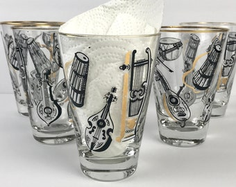 "5 Mid Century Modern ""Big Band"" Highball Glasses - Vintage 1950's Black & Gold Musical Instrument Cocktail Glass Set - MCM Barware Retro Bar"