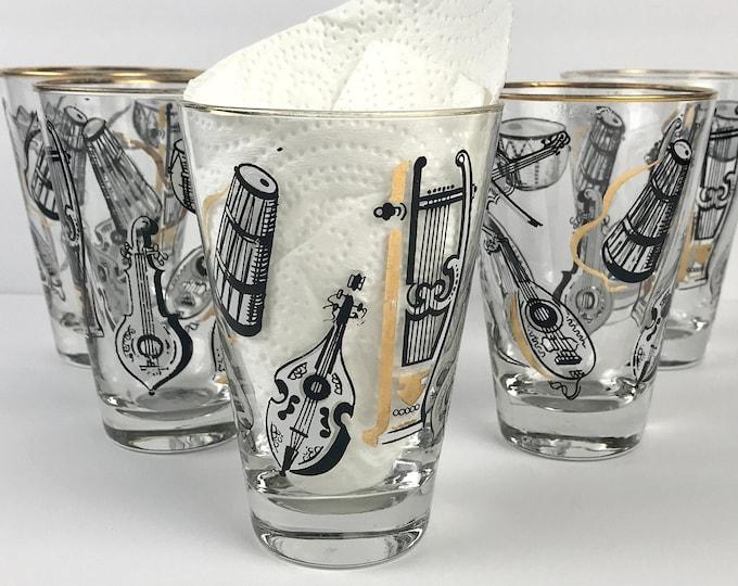 "5 Mid Century Modern ""Big Band"" Highball Glasses - Vintage 1950's Black & Gold Musical Instrument Cocktail Glass Set - MCM Barware Retro Bar"