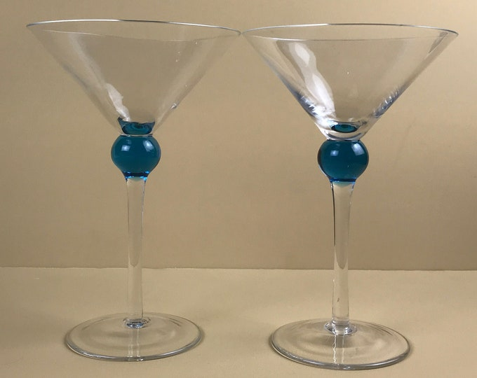 2 Fabulous Bombay Sapphire Gin Blue Ball Martini Glasses - Handblown Vintage Glass Stemware by Bombay - Blue Bubble Bar & Cocktail Supply