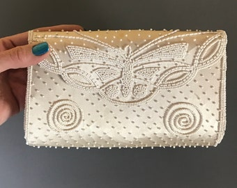 Fabulous Mid-Century Butterfly Beaded Clutch Purse by Dormar - Vintage Shimmering Ivory Handbag - Retro Hollywood Glam Formal Evening Bags