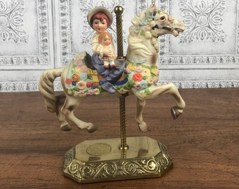 Willitts Limited Edition Flowered Carousel Horse - Merry Go Round Horse Figurine - Pony Nursery Decor - Baby Shower Gift- Gift For Her