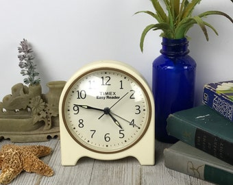 Cute Retro Alarm Clock - Vintage Working Timex Easy Reader Ivory Off-White & Gold Plastic Bedside Table Clock in Fun Atomic Space Age Style