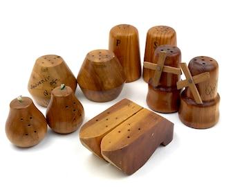 5 Vintage Wooden Salt & Pepper Shaker Sets - Dutch Shoes, Windmills - Danish Modern- Pears - Instant Collection - Souvenirs - 1960's Kitsch