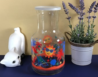 Sunny Retro Juice Storage Bottle w/ Lid - Vintage Glass Tropical Lemonade Pitcher Jar - Funky 80s Beach House Kitchen Carafe & Picnic Dining