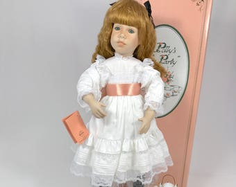 """Edwin M. Knowles Fine China Company Polly's Tea Party """"Polly"""" Red Hair Porcelain Doll 