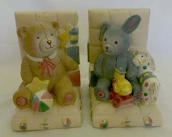 Vintage Heavy Plaster Baby's Nursery Teddy Bear & Bunny Bookends - Gender Neutral Bookend Set - Sail Boats, Horse, ABC's, Duck, Wagon - CUTE