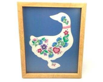 Vintage Needlepoint Duck Wall Hanging - Framed & Matted Goose Embroidery Art - 9x11 Blue Farmhouse Decor - Floral Needlework - Country Farm