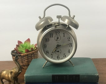 Vintage INSA Mechanical Alarm Clock w/ Double Bell & Peg Legs Chrome - Steampunk / Industrial Desk Clock - For Display, Props, Parts, Repair