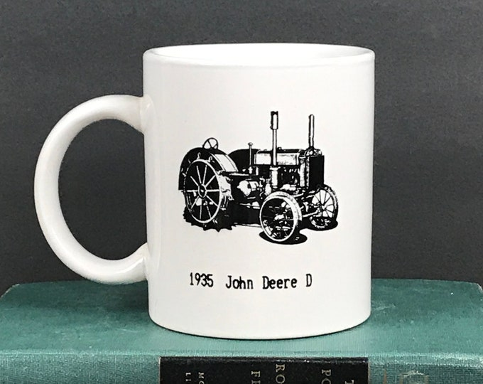 Vintage John Deere Tractor Mug 1935 Model D from 1991 WNY Gas & Steam Show in Alexander, NY - Farmhouse Coffee Cup - John Deere Collectibles
