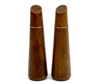 Vintage Faux Bois Salt and Pepper Shakers - Mid-century Modern Kitchen & Dining Room Decor - 1960's Retro Tableware - MOD Food Photo Props