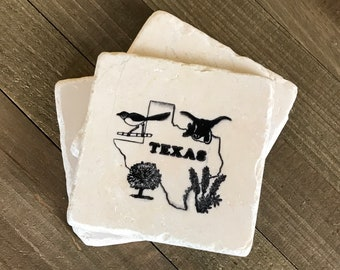 3 Vintage Texas Souvenir Drink Coasters - Rough Faux Marble Stone Cork Back Coaster - Set of 3  Longhorn, Roadrunner Texas State Wall Tiles
