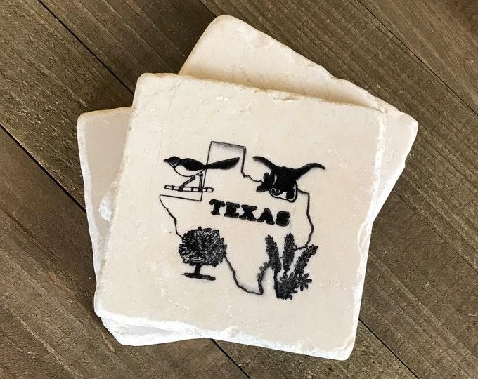3 Vintage Texas Souvenir Drink Coasters - Rough Faux Marble Stone Cork Back Coaster - Set of 3  Longhorn, Roadrunner Texas State Wall Tiles