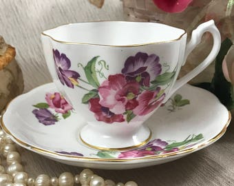 Queen Anne Cup & Saucer Set - Purple Pink Flowers - English Bone China - Made England - Tea Service - Vintage Teacup / Plate - Tea Party