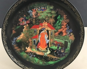 Princess & the Seven Bogatyrs' Russian Legends Collector Plate w/ Certificate - Snow White 7 Dwarfs Fairy Tale Decor - Russia Gift for Her