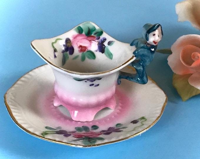 Featured listing image: The Cutest Little Tea Set Ever - Mini Vintage Porcelain Pagoda Teacup & Saucer w/ Wee Little Elf Handle - Miniature Kitschy Demitasse Cup