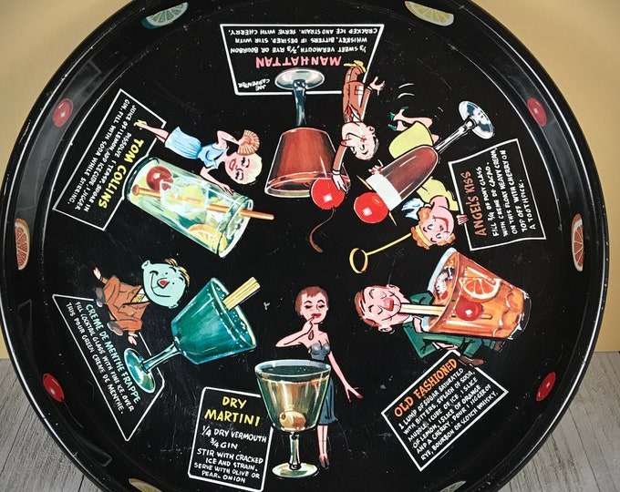 Awesome 50's Retro Black Bar Tray with Mod Character Art Cocktail Recipes - Vintage MCM Kitsch Bar & Lounge Wall Decor - 1950's Hostess Gift