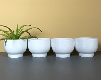 """4 Vintage Pan Am Airlines Egg Cups or Condiment Bowls First Class Passenger Dishes - Modern Style """"White Wave"""" Bauscher Weiden Bavaria China"""